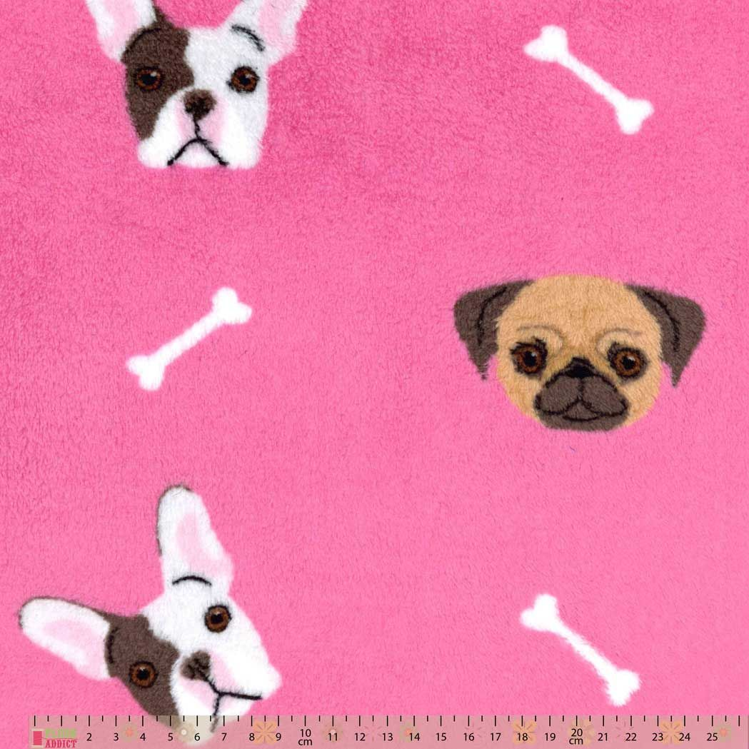 Remnant - Cuddle Fleece - French Bulldogs On Pink - 1m x 150cm