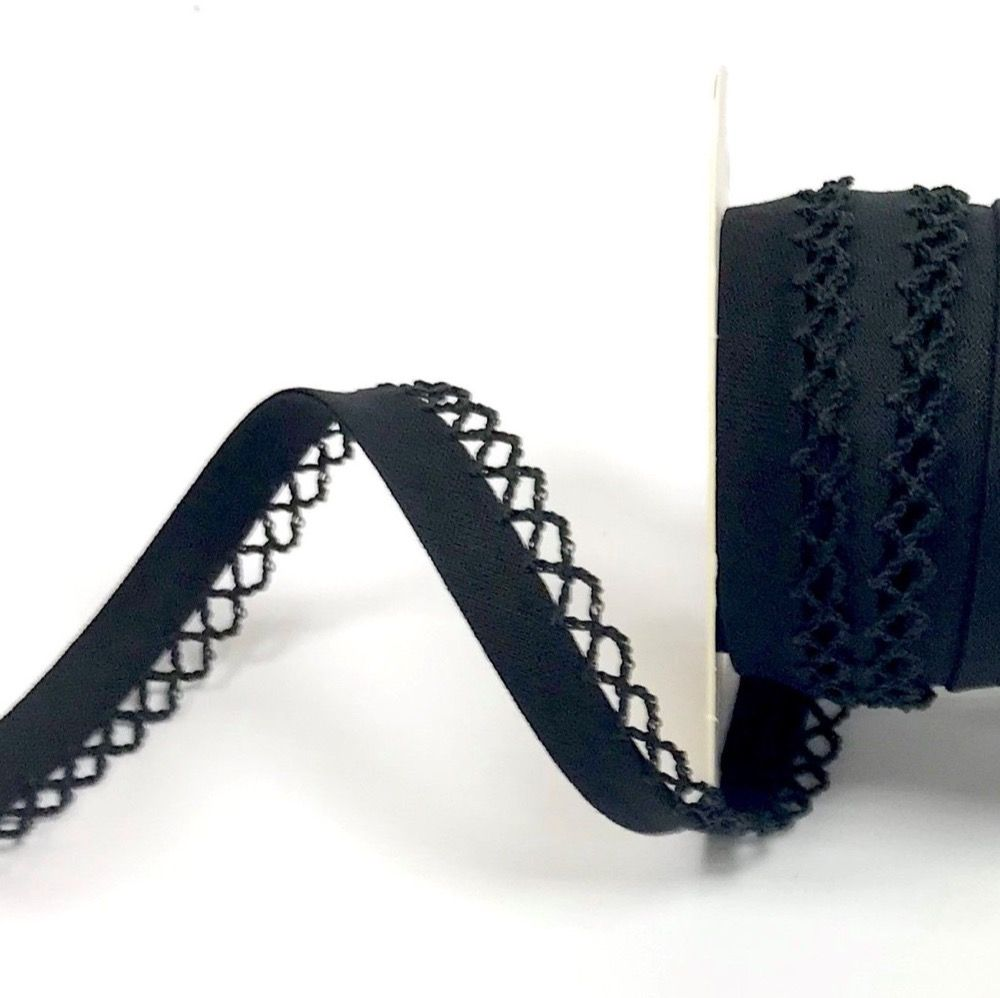 12mm Bias Binding Double Folded Lace Edged Black - 5 Metre Pack