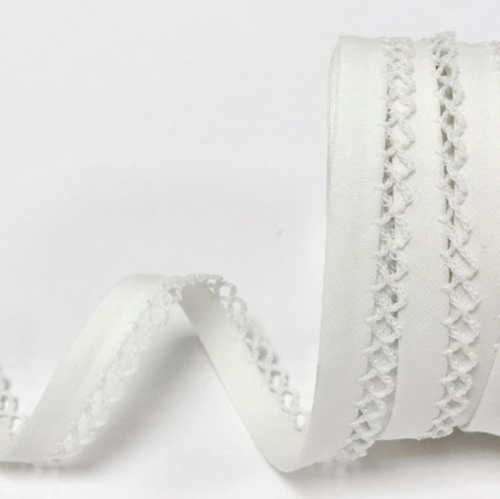12mm Bias Binding Double Folded Lace Edged White - 5 Metre Pack