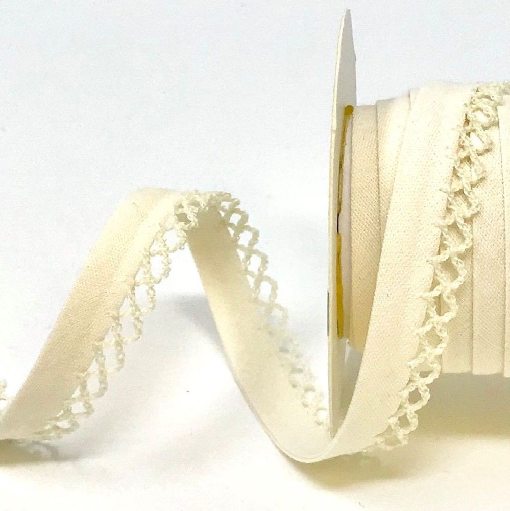 12mm Bias Binding Double Folded Lace Edged Ivory - 5 Metre Pack