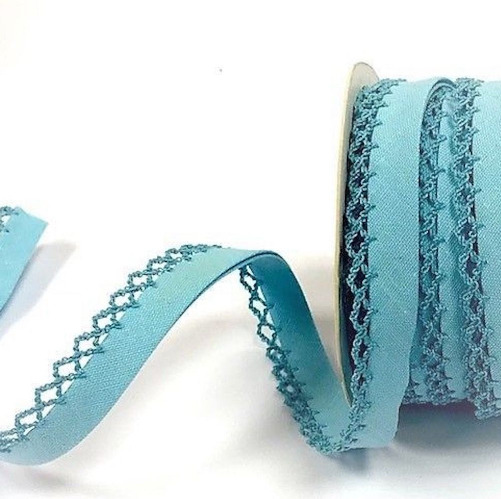 12mm Bias Binding Double Folded Lace Edged Light Turquoise - 5 Metre Pack