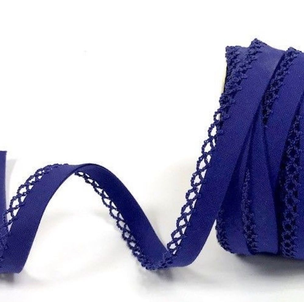12mm Bias Binding Double Folded Lace Edged Royal Blue - 5 Metre Pack