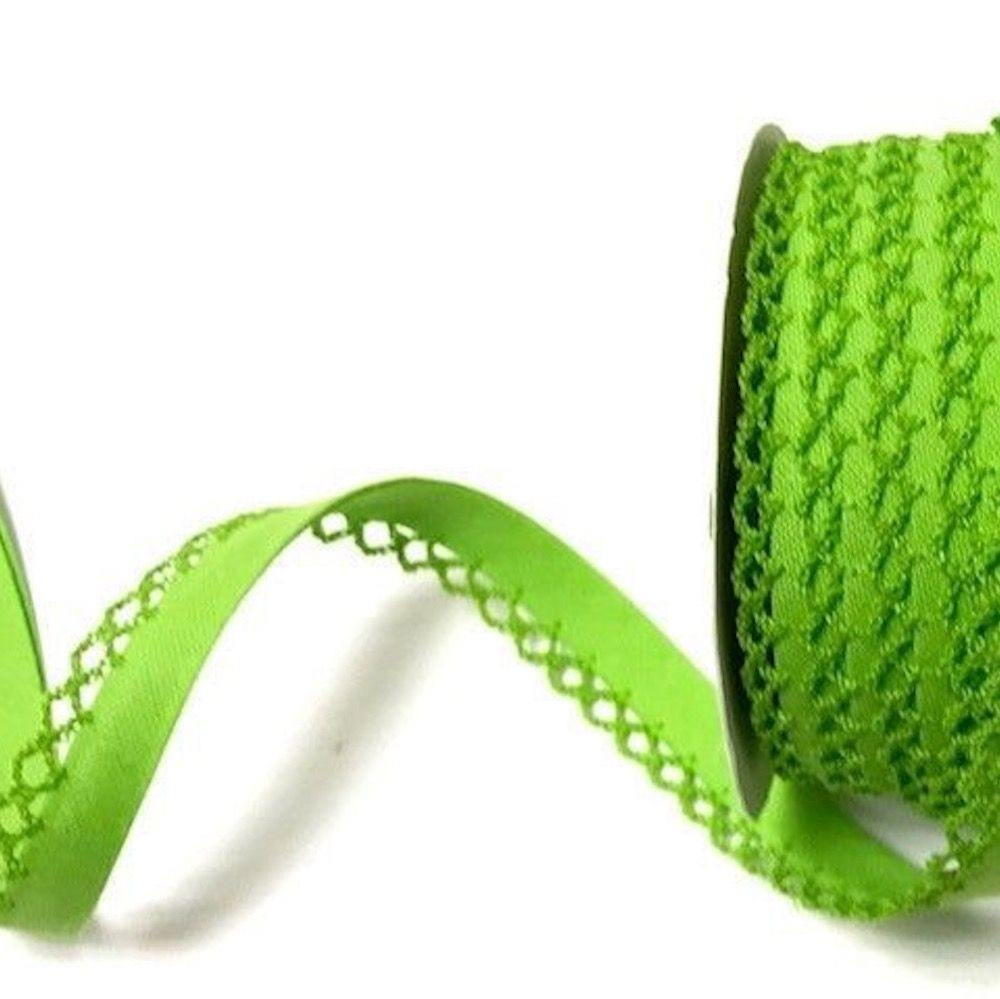 12mm Bias Binding Double Folded Lace Edged Lime Green - 5 Metre Pack