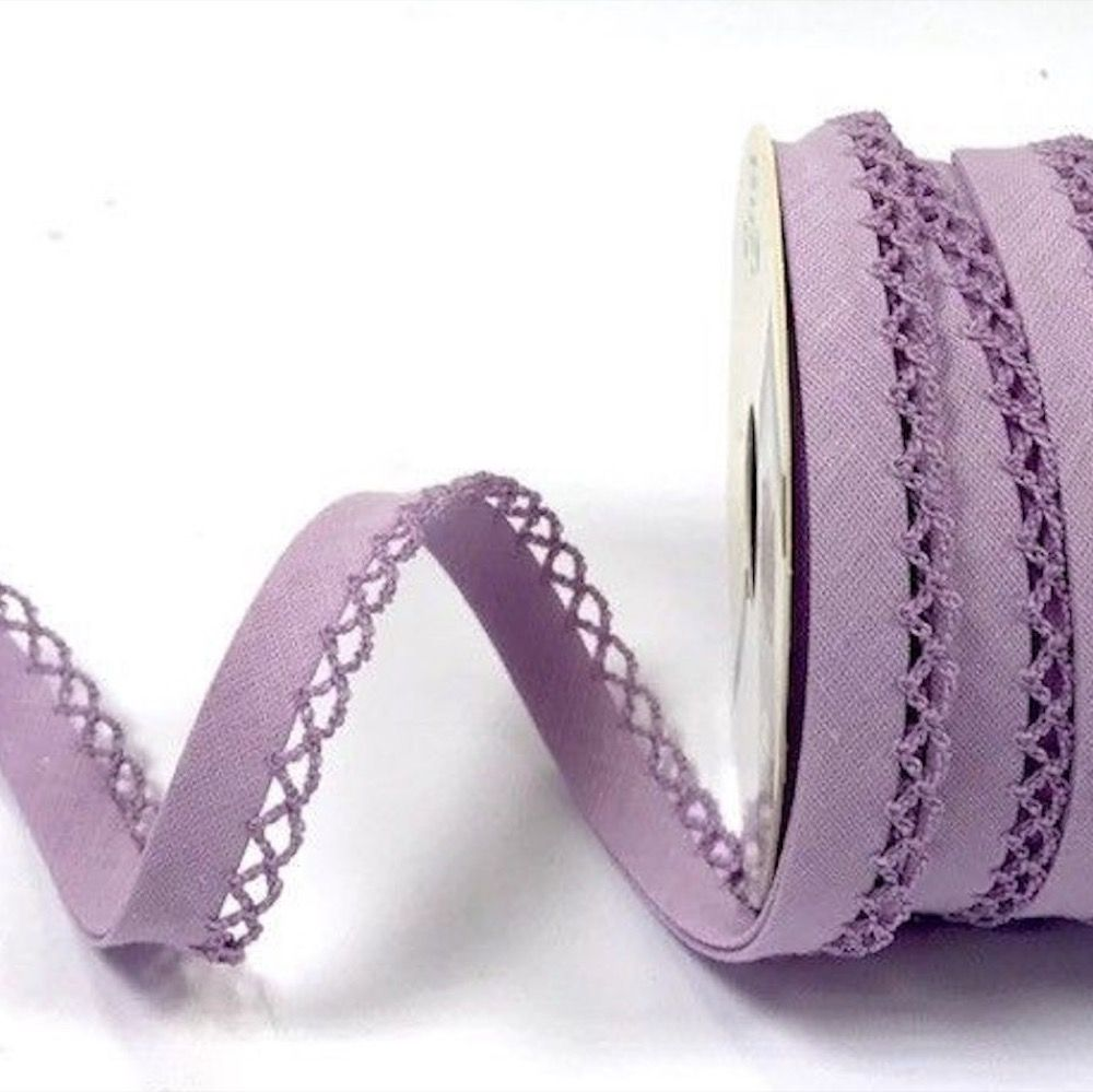 12mm Bias Binding Double Folded Lace Edged Lilac - 5 Metre Pack