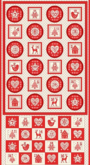 Makower - Scandi 2018 - Advent Calendar Pocket Panel - 60cm