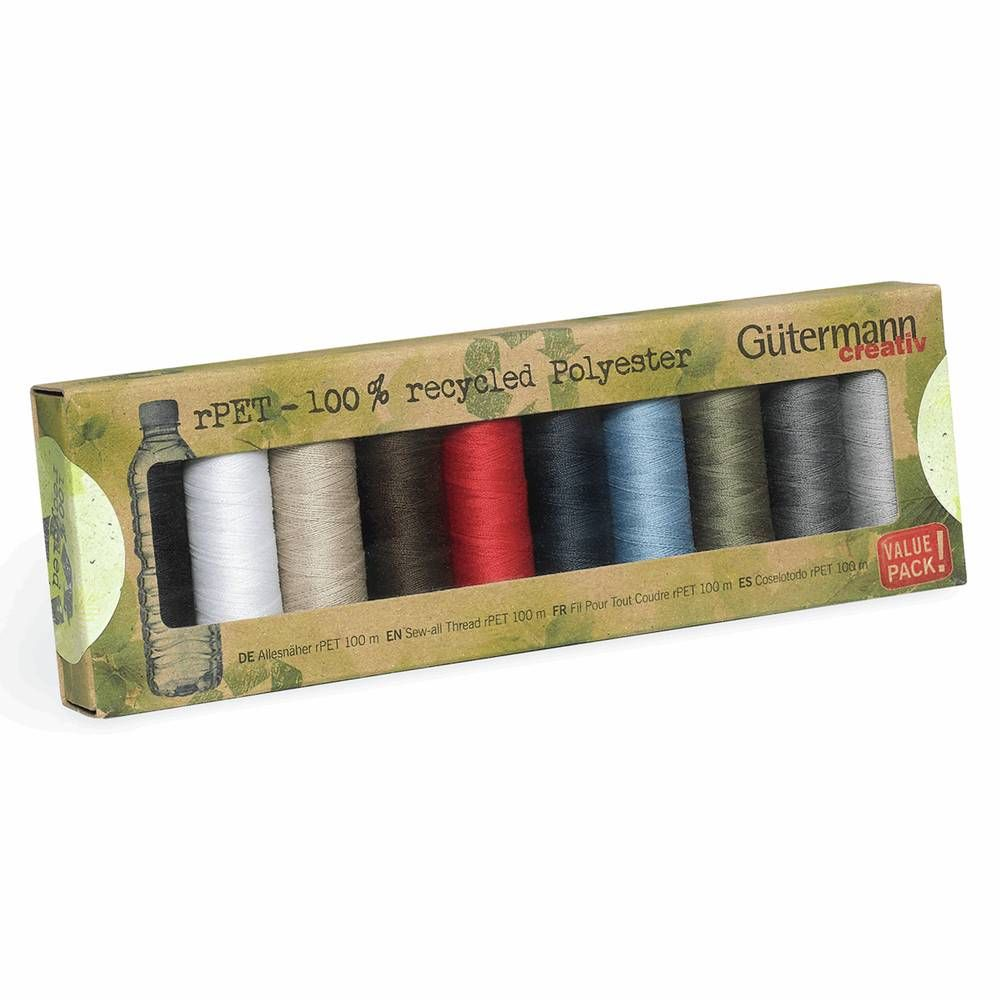 Gutermann 10 x 100m Recycled (rPET) Assorted Thread Set
