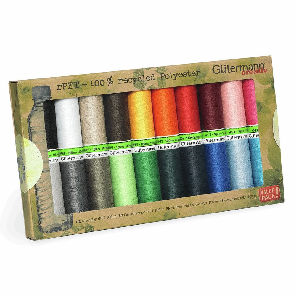 Gutermann 20 x 100m Recycled (rPET) Assorted Thread Set