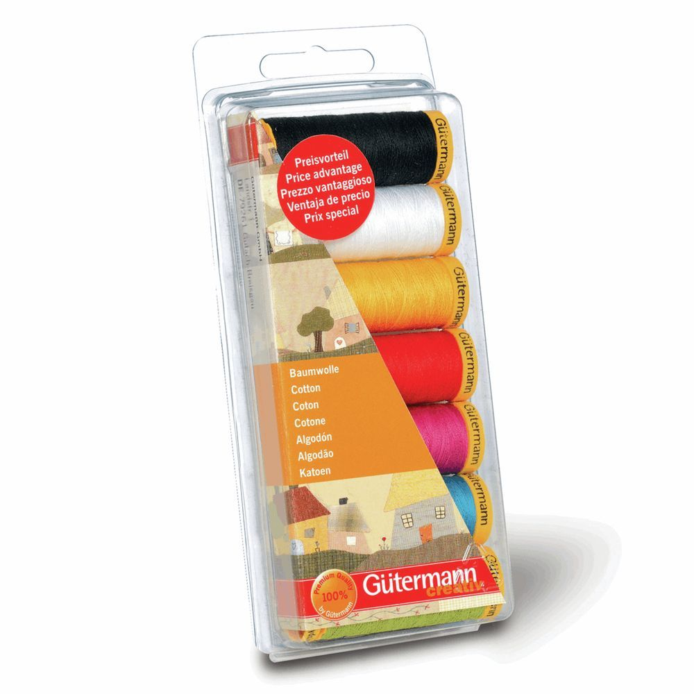 Gutermann  7 x 100m Cotton C No.50 Assorted Thread Set