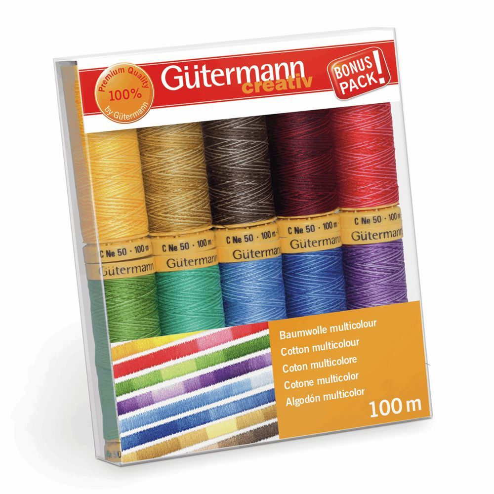 Gutermann  10 x 100m Cotton C No.50 Assorted Thread Set