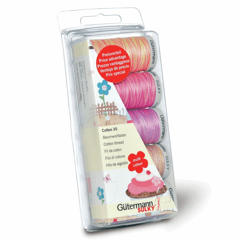 Gutermann 5 x 300m Cotton No. 30 Pinks/Purples Thread Set