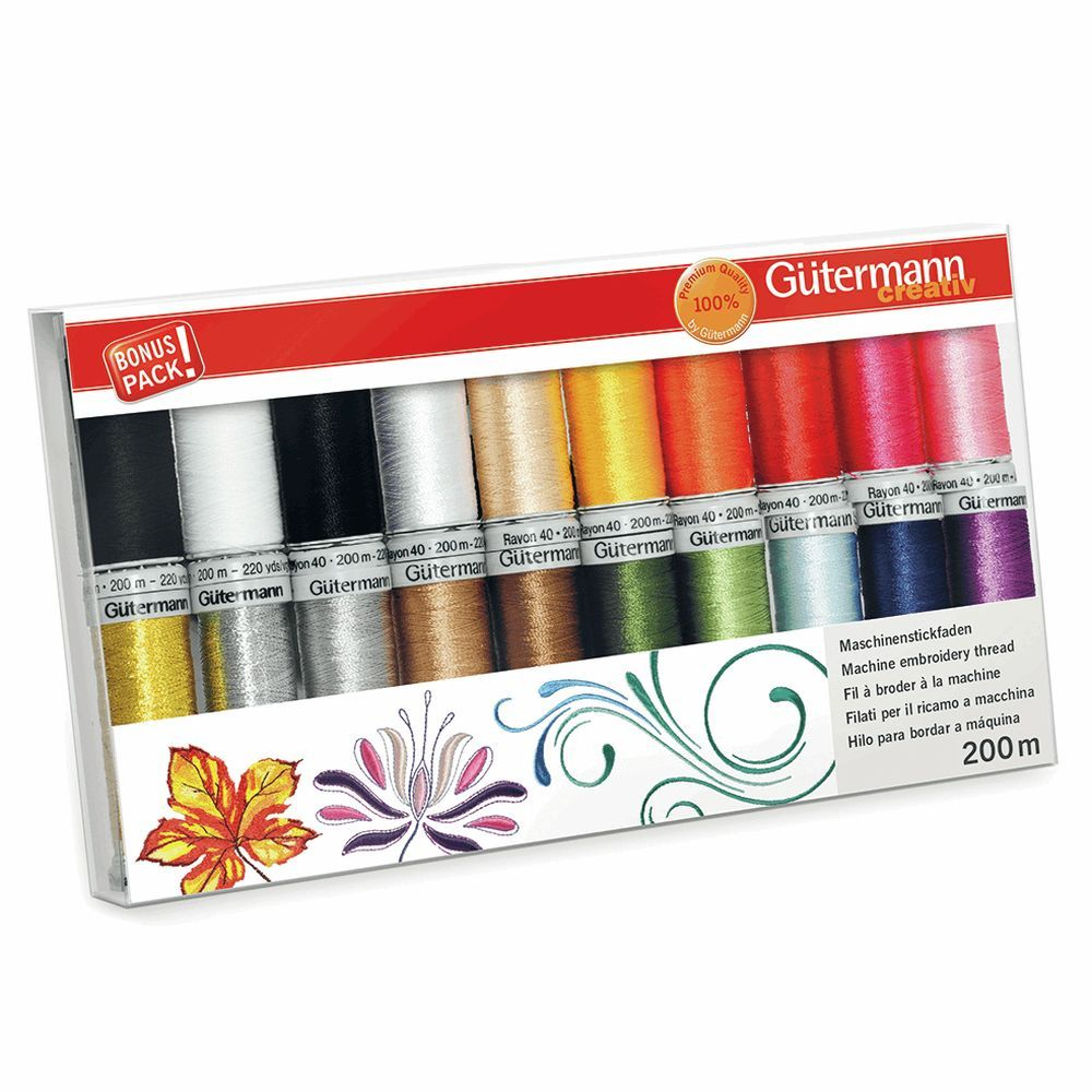 Gutermann 20 x 200m Rayon 40, Metallic & Bobbin Assorted Thread Set