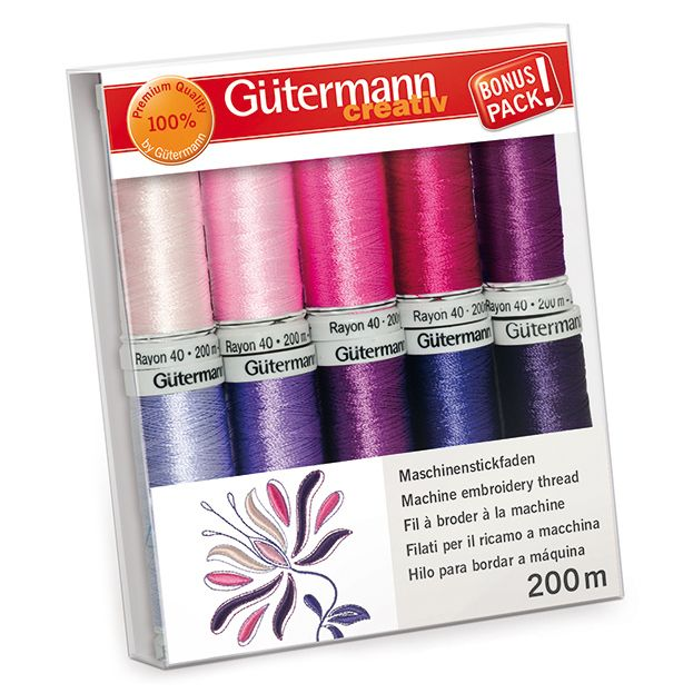 Gutermann 10 x 200m Candy Shades Embroidery Thread Set