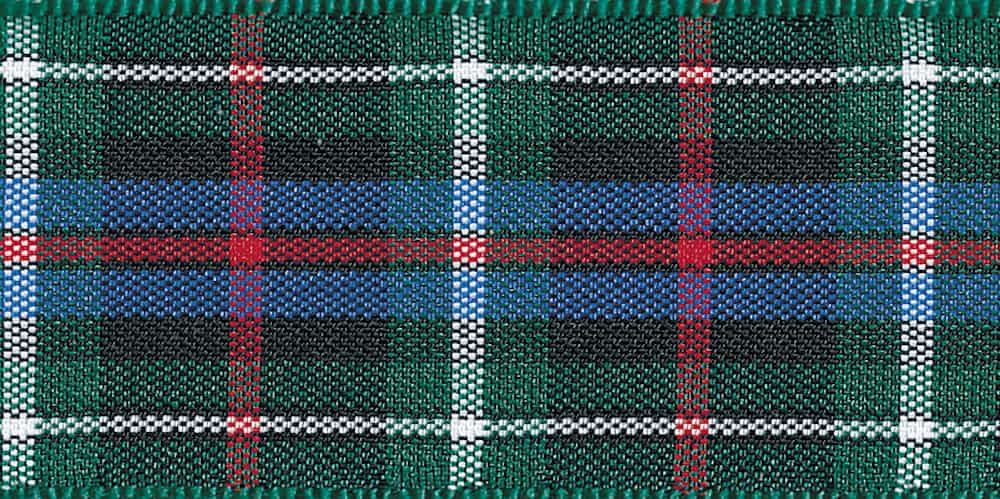 Berisfords Woven Edge Rose Tartan Ribbon - 6 Widths