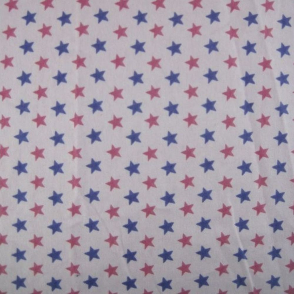 Cotton Flannel - Pink And Purple Stars On Pink