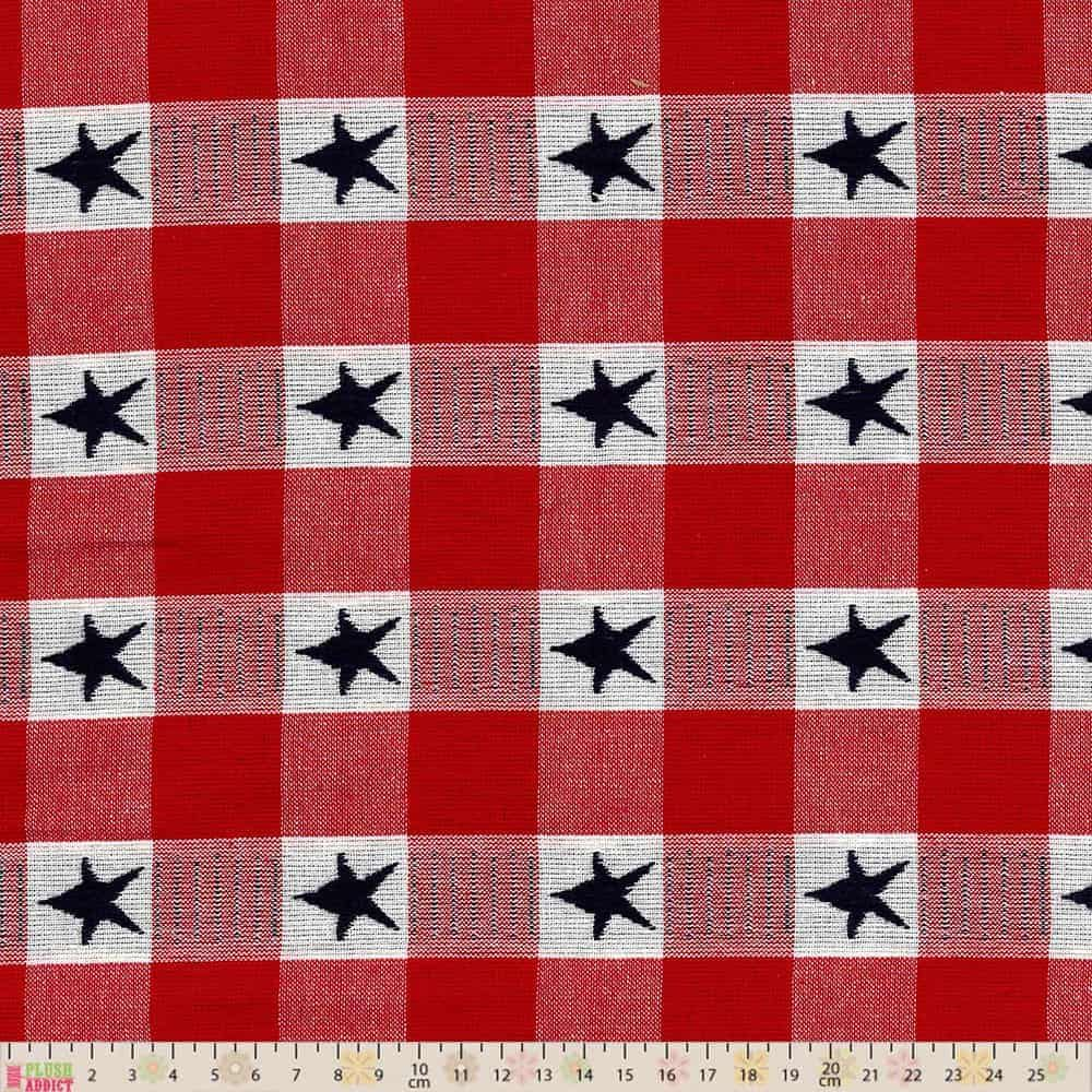 Cotton Fabric - Linen Look Cotton Canvas - Woven Stars Check