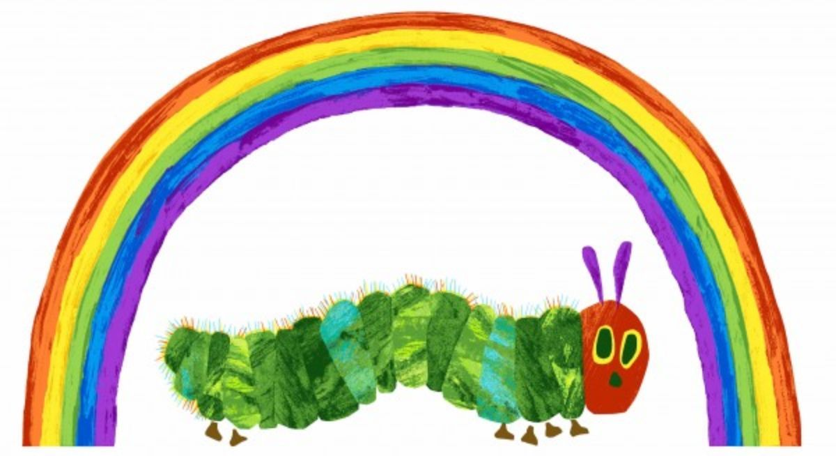 Andover - The Very Hungry Caterpillar Classic - 60cm Rainbow Panel White