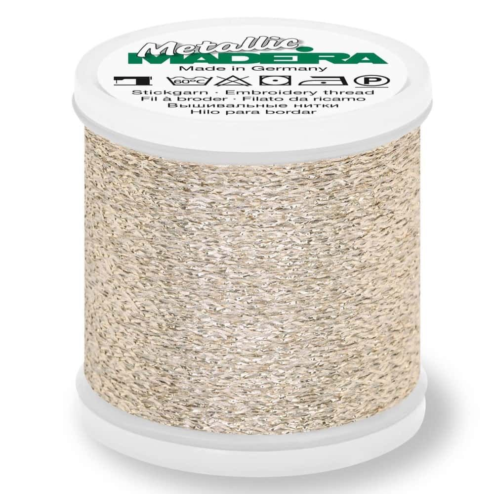 Madeira Metallic Sparkling Sewing And Embroidery Thread 200m - Colour 22 White Gold