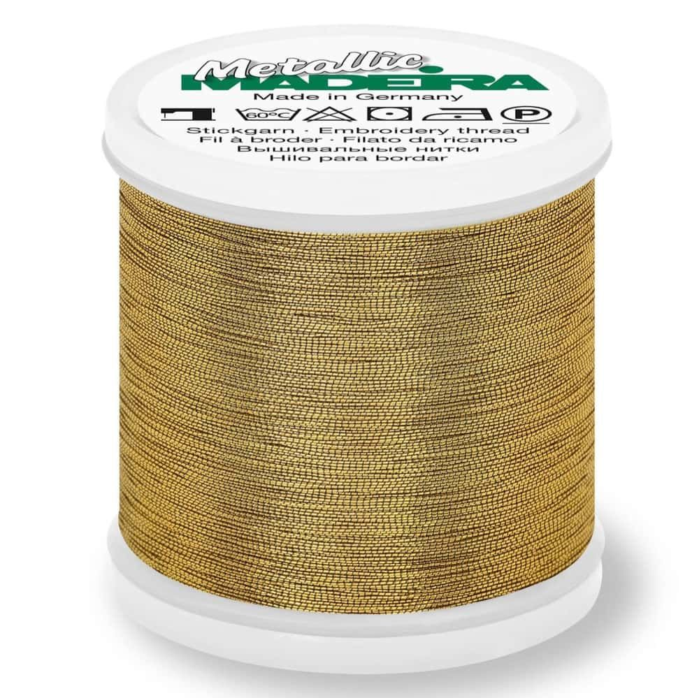 Madeira Metallic Smooth Sewing And Embroidery Thread 200m - Colour 324 Antique Gold