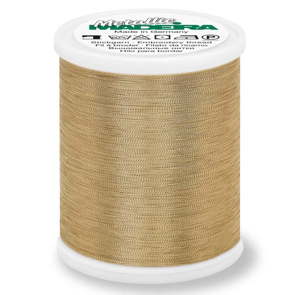 Madeira Metallic Smooth Sewing And Embroidery Thread 1000m - Colour 306 White Gold