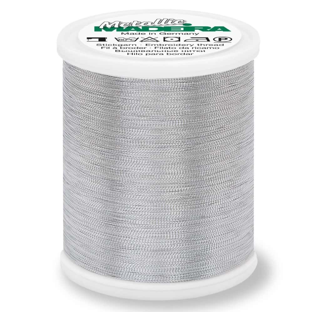 Madeira Metallic Smooth Sewing And Embroidery Thread 1000m - Colour 320 Silver