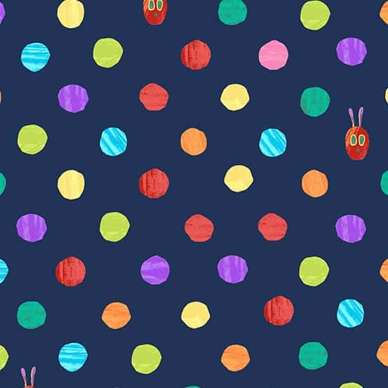 Andover - The Very Hungry Caterpillar Bright - Dots Dark Blue