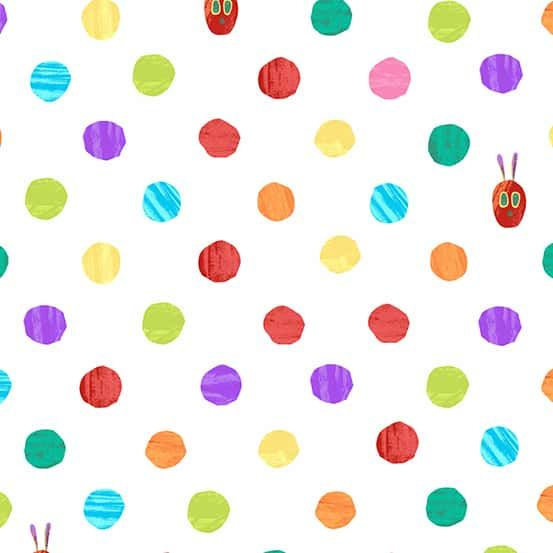 Andover - The Very Hungry Caterpillar Bright - Dots White