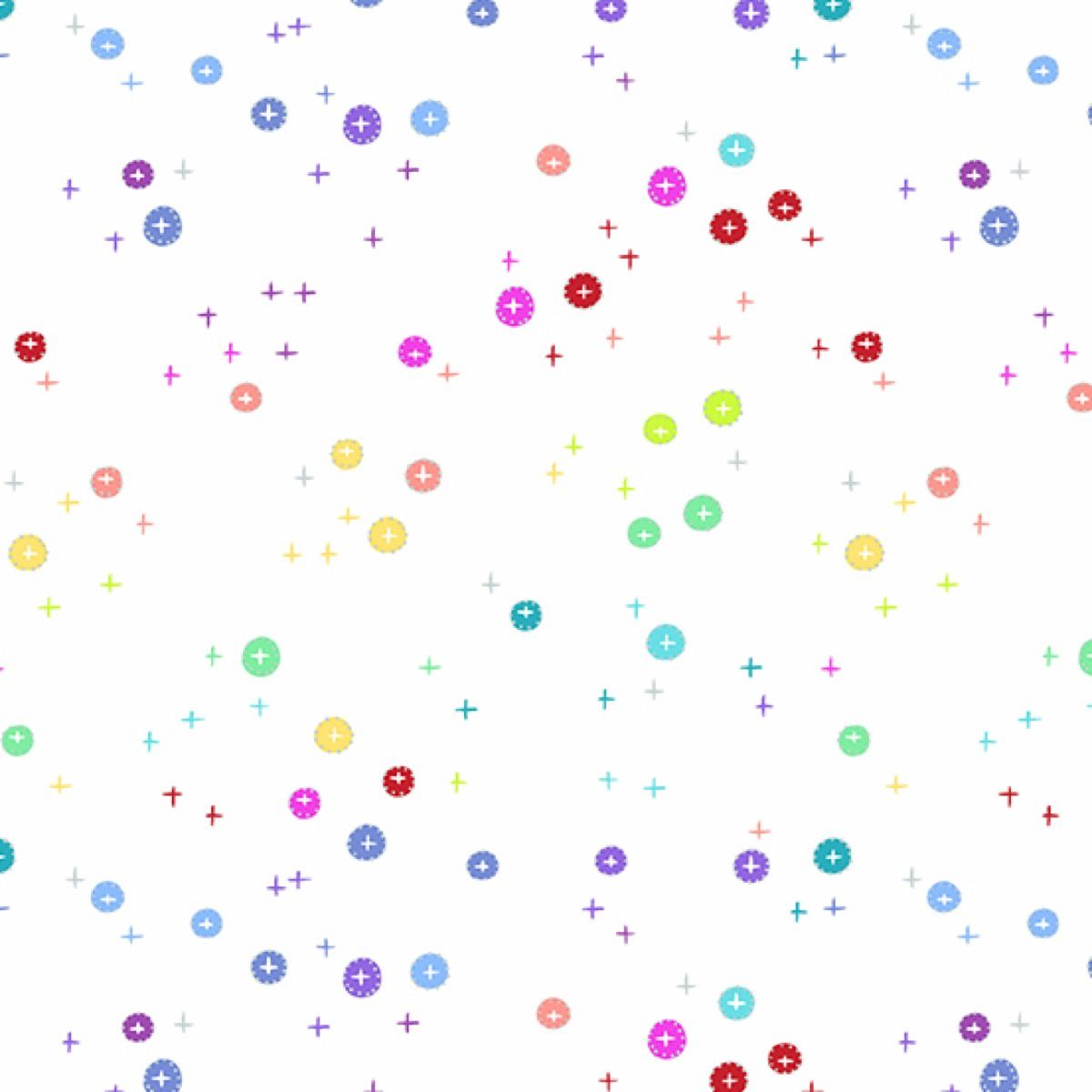 Andover - Rainbow Sprinkles - Buttons White