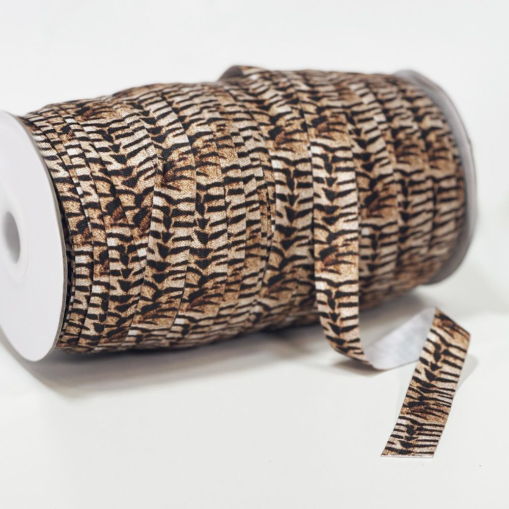 Fold Over Elastic 16mm Wide - Striped Animal Print