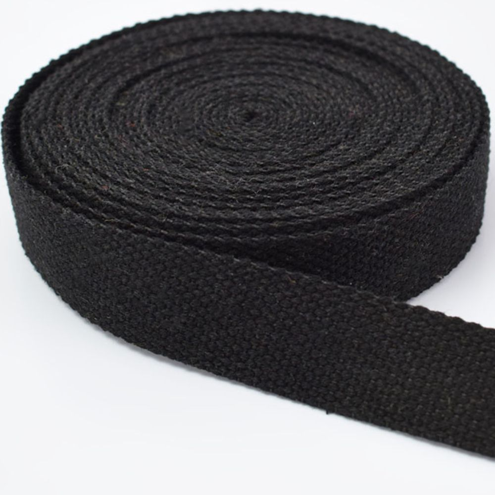 Strong Thick Woven Canvas Webbing  - Black -  25mm Wide