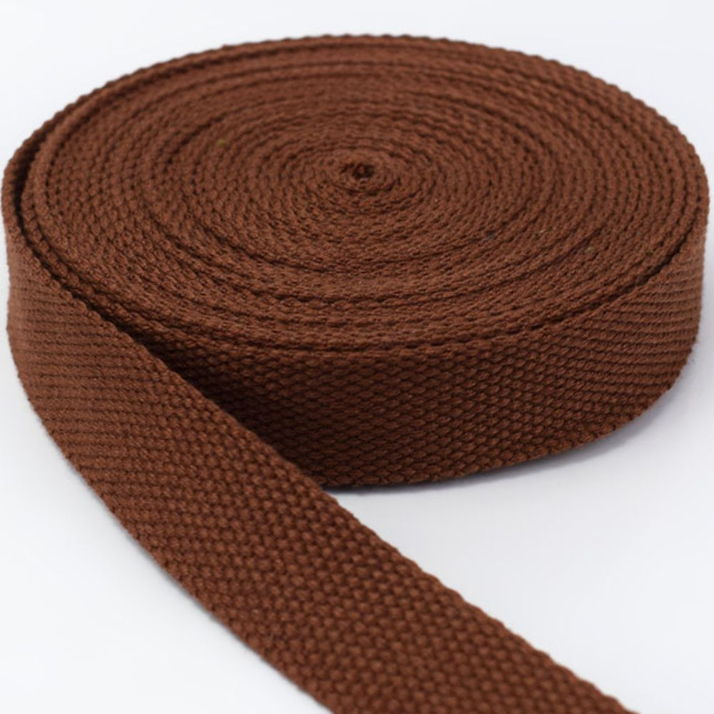 Strong Thick Woven Canvas Webbing  - Brown -  25mm Wide