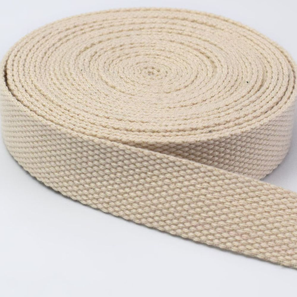 Strong Thick Woven Canvas Webbing  - Beige -  25mm Wide