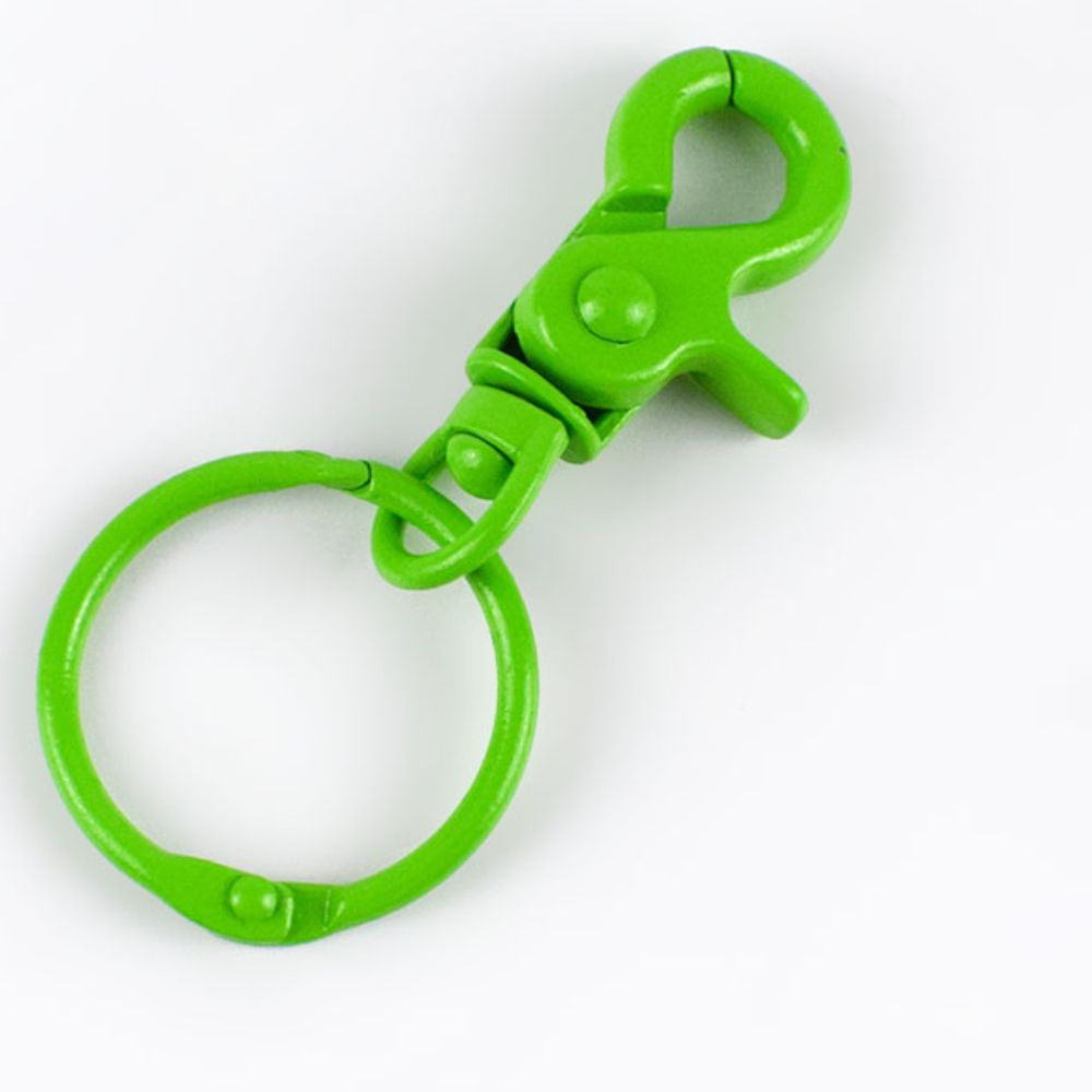Alloy Swivel Bag Hook with Ring Key Chain In Green 12.5mm