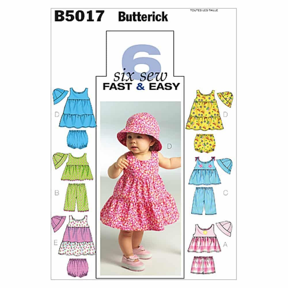 Butterick Sewing Pattern B5017 Infants' Top, Dress, Panties, Shorts, Pants and Hat