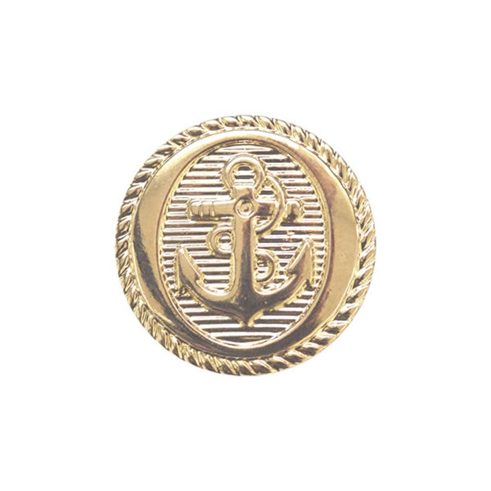 Metal Coated Anchor Buttons With Shank - Gold - 15mm / 24L