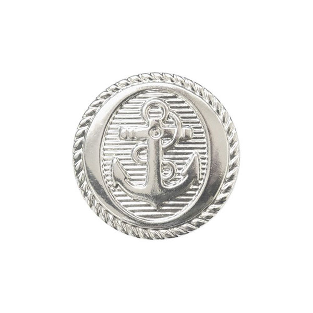 Metal Coated Anchor Buttons With Shank - Silver - 21mm / 34L