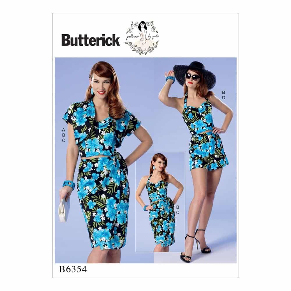 Butterick Sewing Pattern B6354 Misses'/Misses' Petite Bolero, Halter or Strapless Bustier, Sarong and Shorts