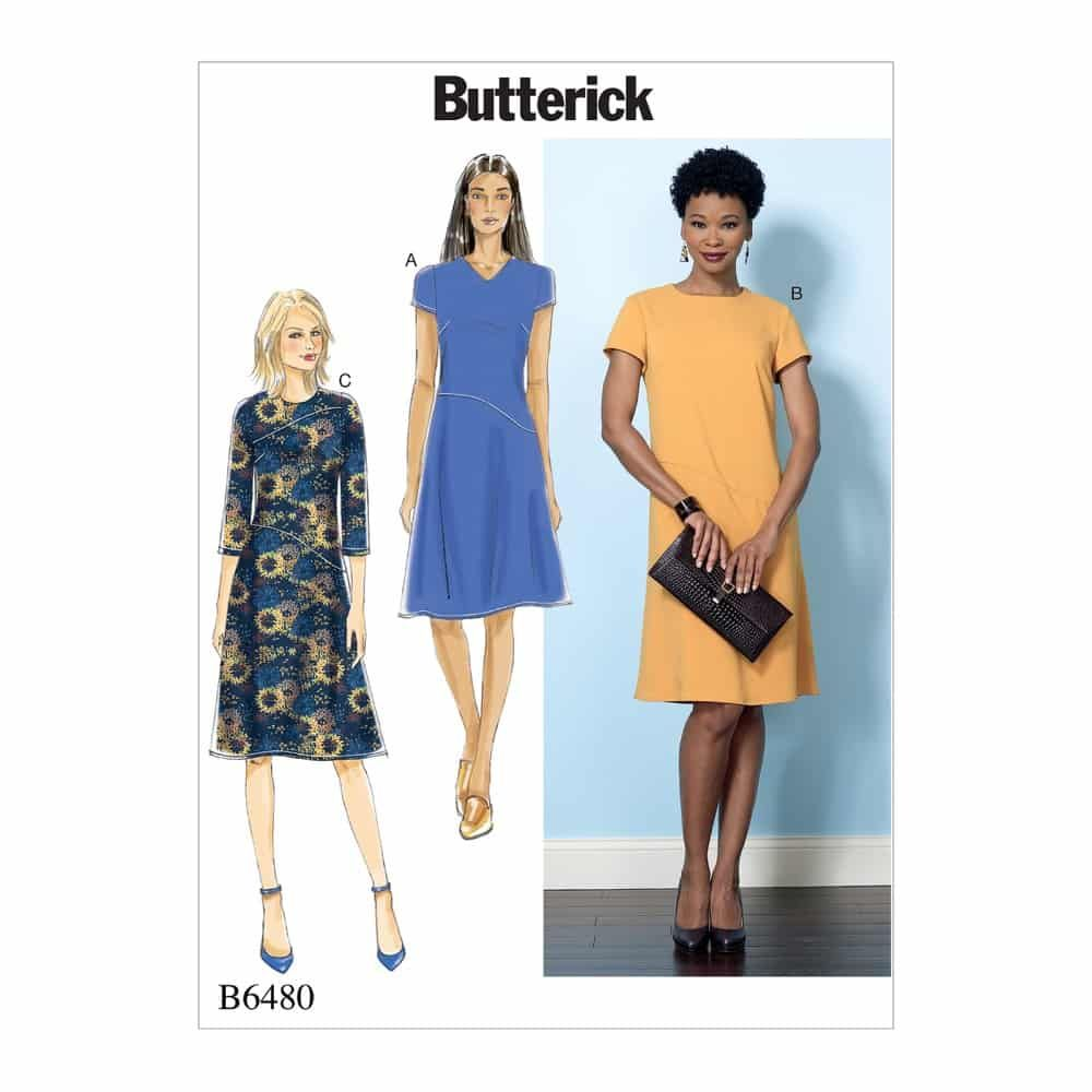 Butterick Sewing Pattern B6480 Misses' Fitted Dresses with Hip Detail, Neck and Sleeve Variations
