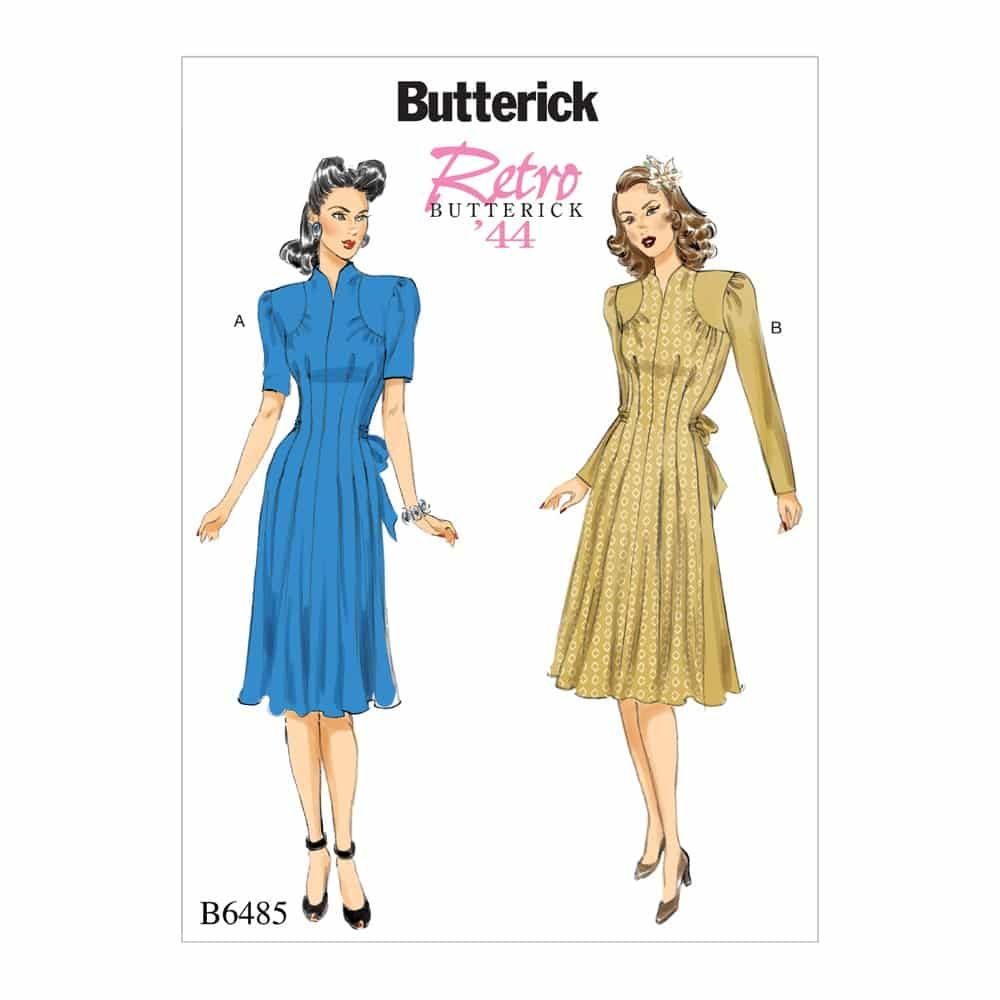 Butterick Sewing Pattern B6485 Misses' Dresses with Shoulder and Bust Detail, Waist Tie, and Sleeve Variations