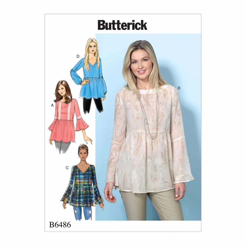 Butterick Sewing Pattern B6486 Misses' Loose-Fitting, Gathered Waist Pullover Tops with Bell Sleeves