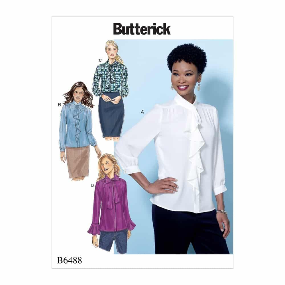 Butterick Sewing Pattern B6488 Misses' Tops with Neckline and Sleeve Variations