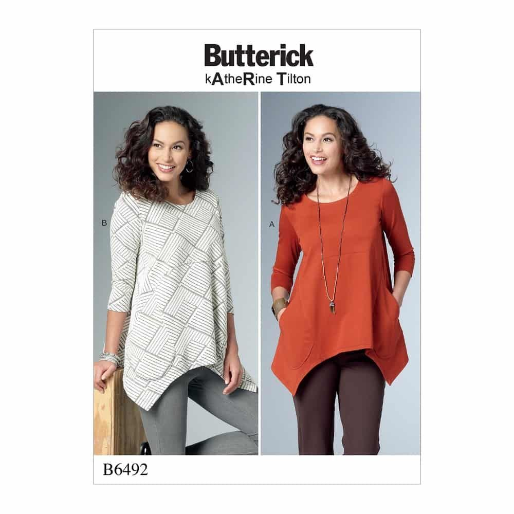 Butterick Sewing Pattern B6492 Misses' Loose Knit Tunics with Shaped Sides and Pockets