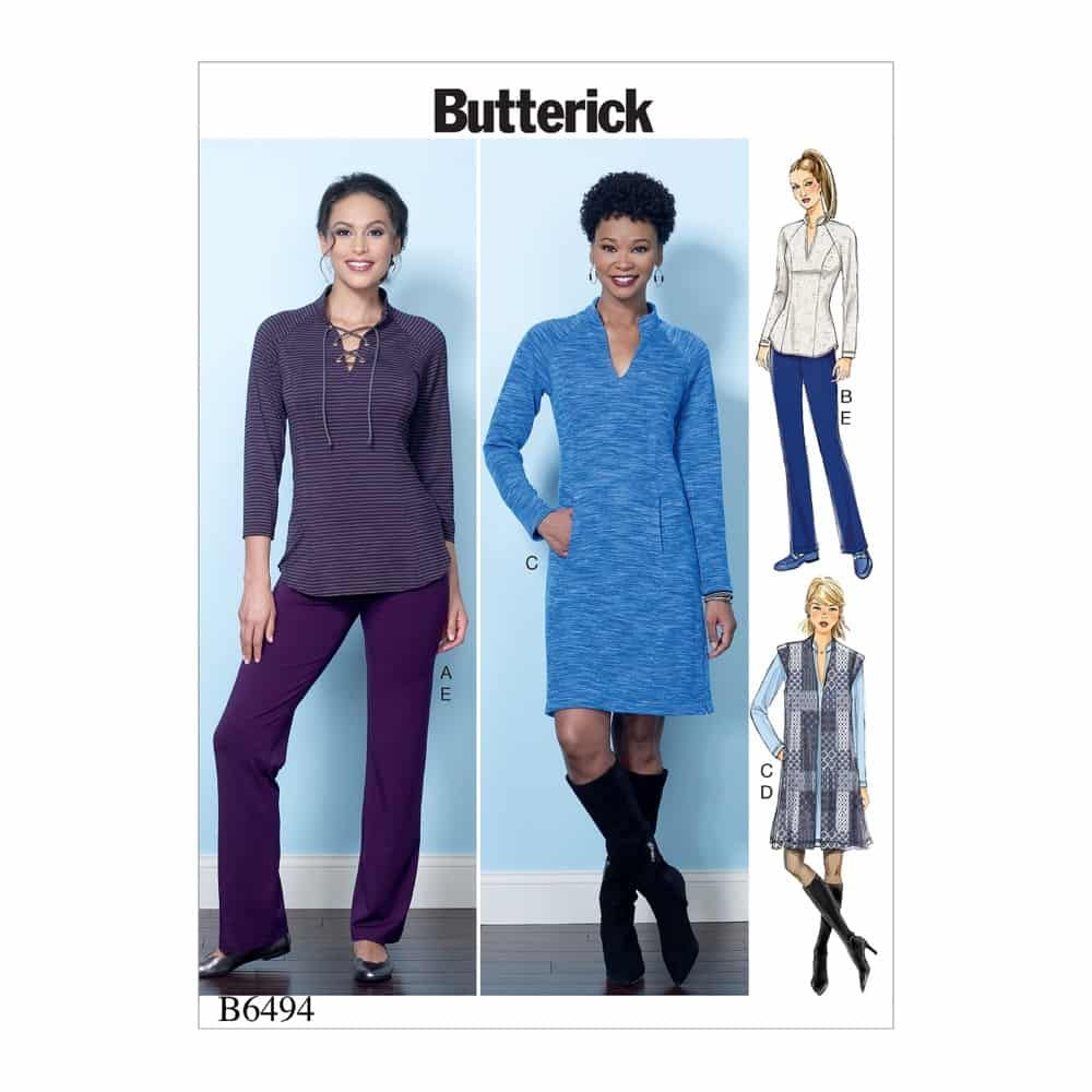 Butterick Sewing Pattern B6494 Misses' Knit Raglan Sleeve Tops and Dress, Vest, and Pull-On Pants