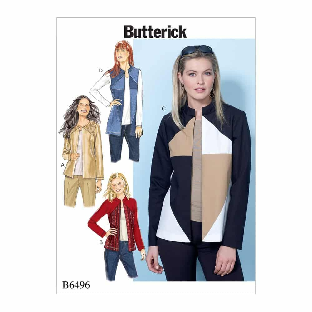 Butterick Sewing Pattern B6496 Misses' Jackets and Vests with Contrast and Seam Variations