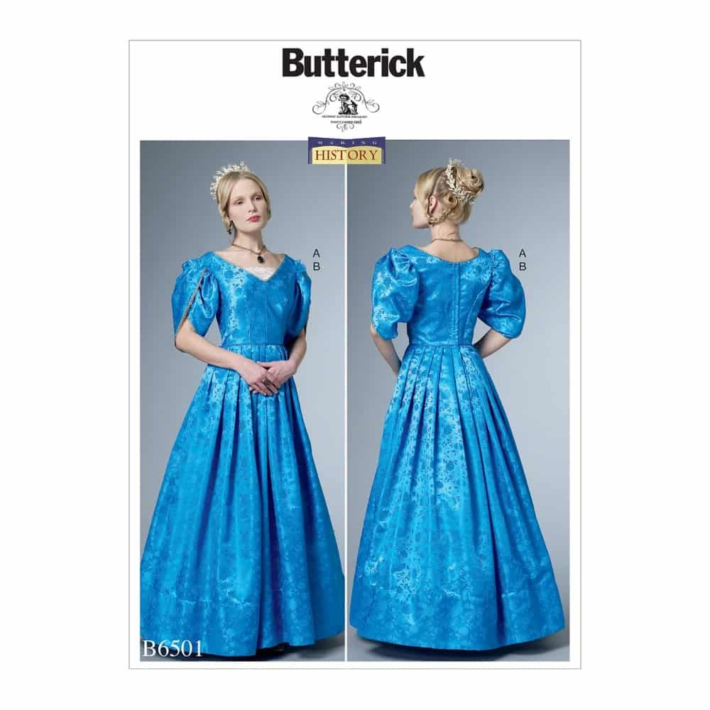 Butterick Sewing Pattern B6501 Misses' Dress with Boned Bodice, Lined Tulip Sleeves, and Chemisette