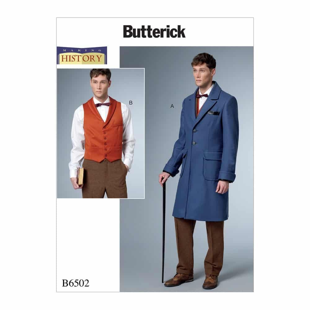 Butterick Sewing Pattern B6502 Men's Single-Breasted Lined Coat with Back Belt and Vest with Buckle