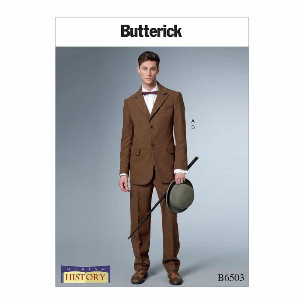 Butterick Sewing Pattern B6503 Men's Single-Breasted Lined Coat with Back Vent and Cuffed Pants