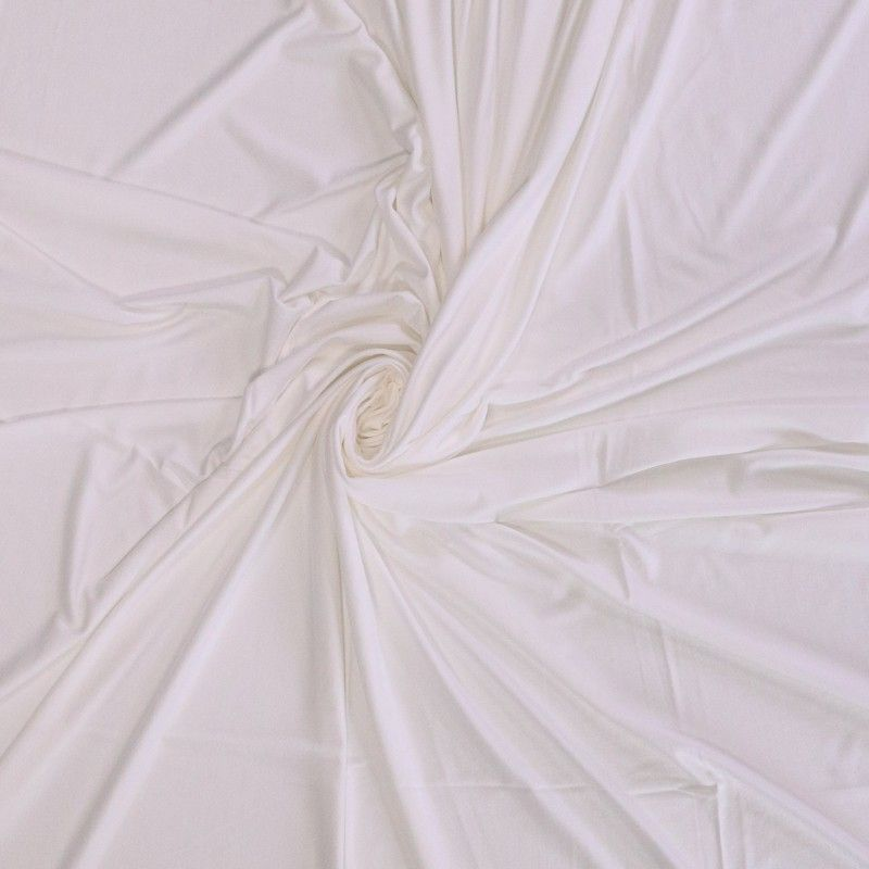 Solid Colour Bamboo Jersey Fabric - Off White