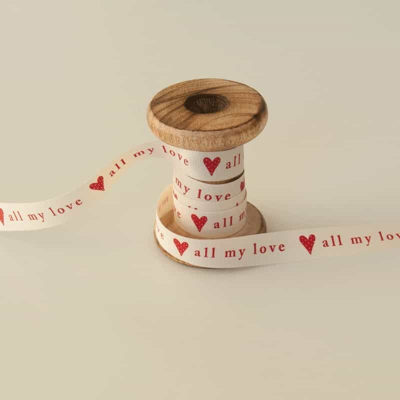 All My Love Ivory/Red Ribbon 4mtr x 15mm roll