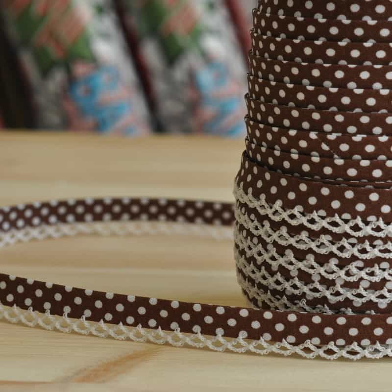 12mm Bias Binding Double Folded Lace Edged Chocolate With White Polka Dots - 5 Metre Pack