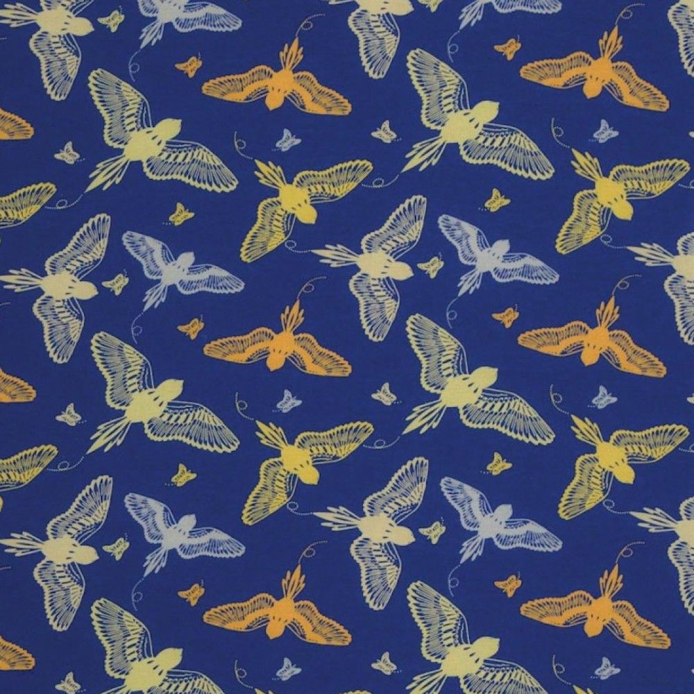 Stretch Cotton Spandex Jersey Knit - Yellow Birds On Blue